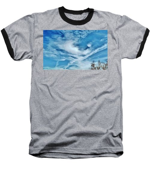 Bird Cloud Soaring By Baseball T-Shirt by Angela J Wright