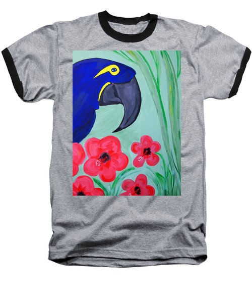 Baseball T-Shirt featuring the painting Bird In Paradise   by Nora Shepley