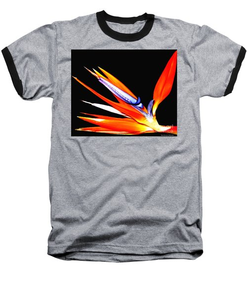 Bird Of Paradise Flower With Oil Painting Effect Baseball T-Shirt by Rose Santuci-Sofranko