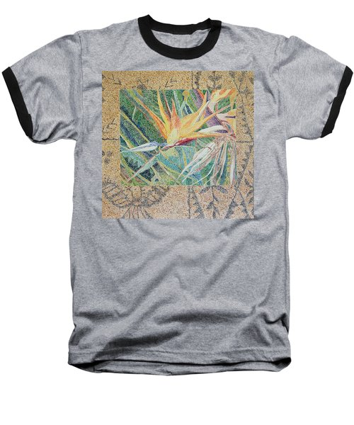 Bird Of Paradise With Tapa Cloth Baseball T-Shirt