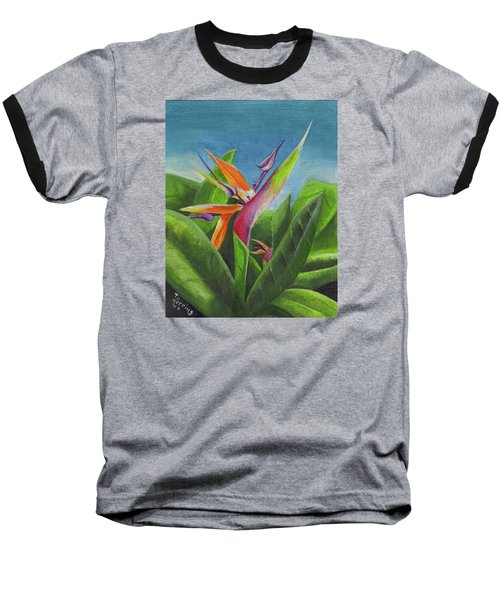 Baseball T-Shirt featuring the painting Hawaiian Bird Of Paradise by Thomas J Herring