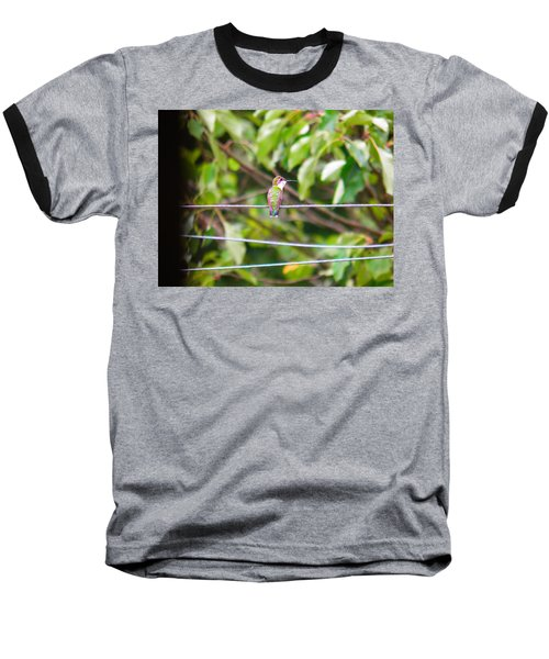 Baseball T-Shirt featuring the photograph Bird On A Wire by Nick Kirby
