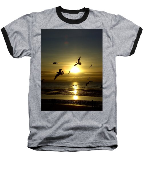 Birds Gathering At Sunset Baseball T-Shirt