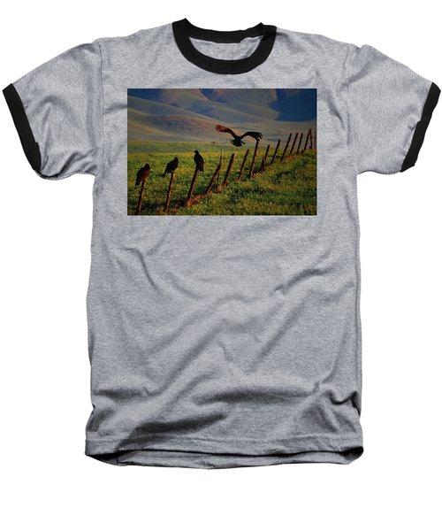 Baseball T-Shirt featuring the photograph Birds On A Fence by Matt Harang