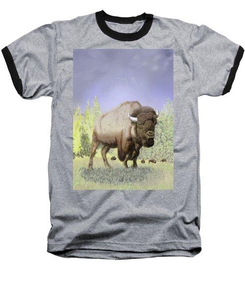 Baseball T-Shirt featuring the digital art Bison On The Range by Thomas J Herring