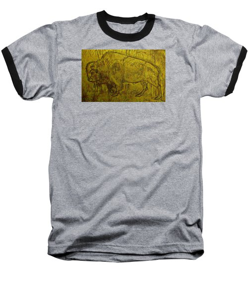 Baseball T-Shirt featuring the drawing Golden  Buffalo by Larry Campbell