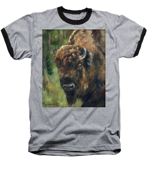 Bison Study - Zero Three Baseball T-Shirt by Lori Brackett