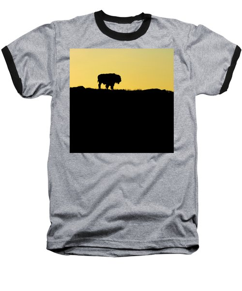 Baseball T-Shirt featuring the photograph Bison Sunrise by Sonya Lang