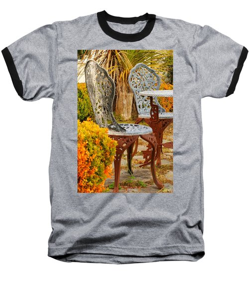 Bistro Table-color Baseball T-Shirt by Loni Collins