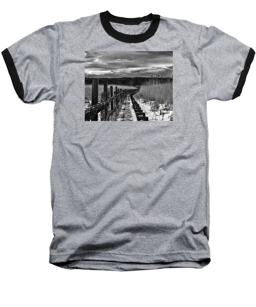 Baseball T-Shirt featuring the photograph black and White Danger 2 bordway cover with slippery ice by Leif Sohlman
