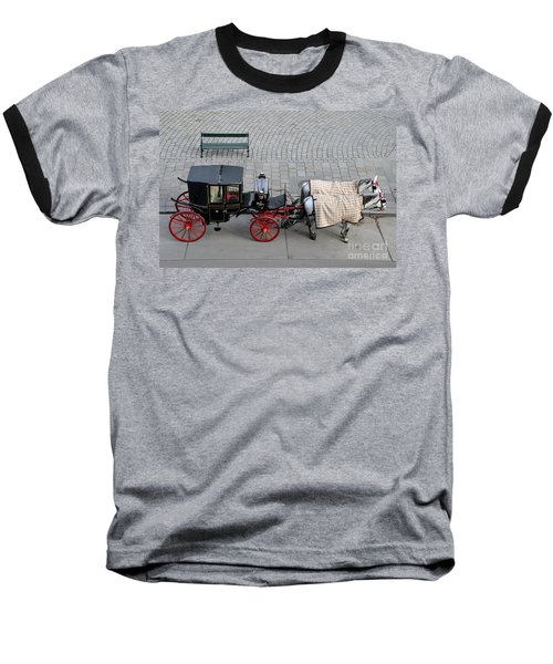 Baseball T-Shirt featuring the photograph Black And Red Horse Carriage - Vienna Austria  by Imran Ahmed