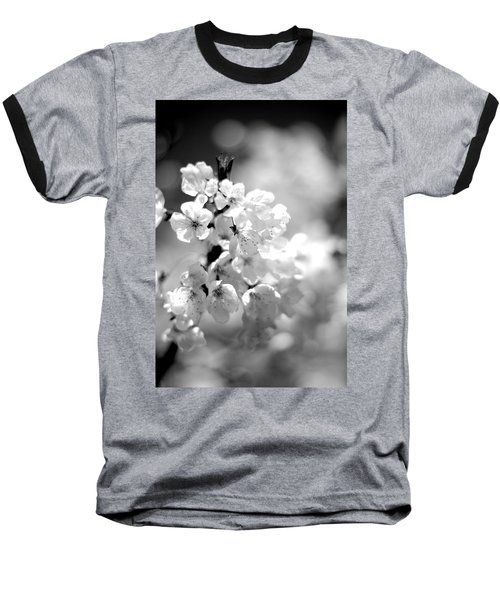 Black And White Blossoms Baseball T-Shirt