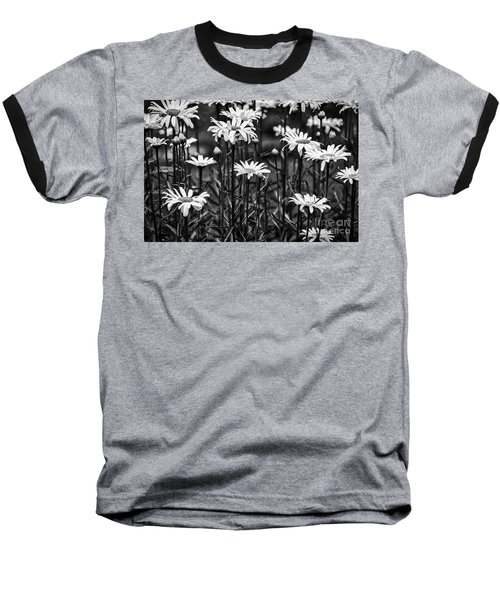 Black And White Daisies Baseball T-Shirt by Mary Carol Story