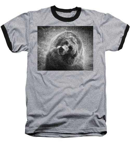 Black And White Grizzly Baseball T-Shirt by Steve McKinzie