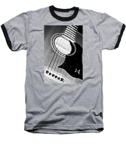 Black And White Harmony Guitar Baseball T-Shirt