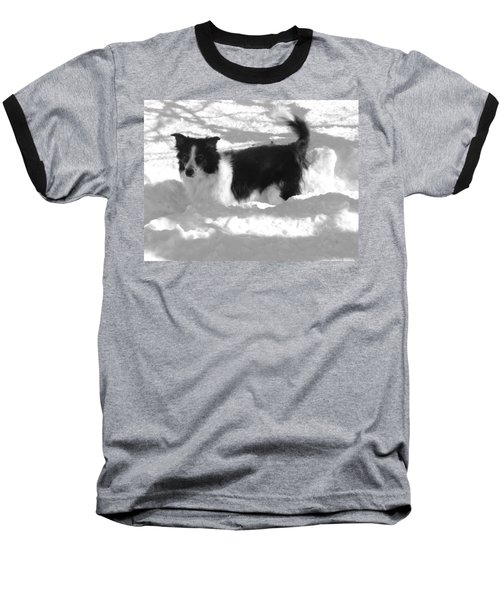 Baseball T-Shirt featuring the photograph Black And White In The Snow by Michael Porchik