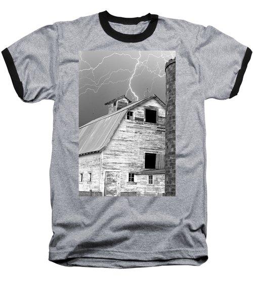 Black And White Old Barn Lightning Strikes Baseball T-Shirt