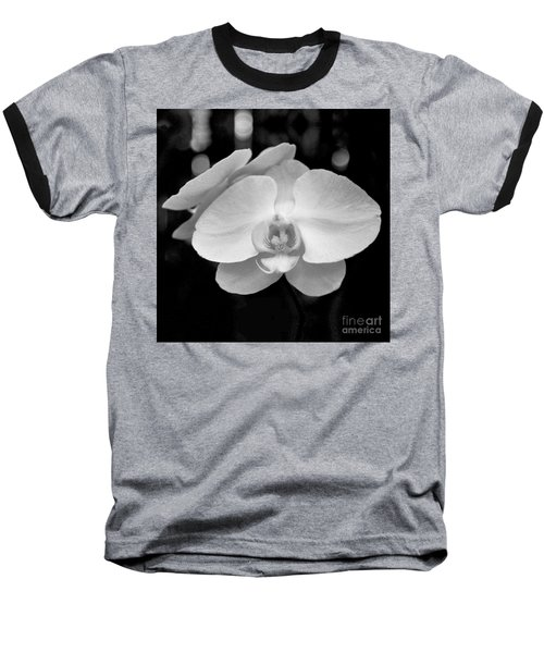 Black And White Orchid With Lights - Square Baseball T-Shirt