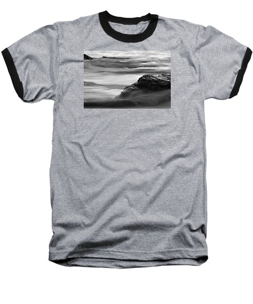 Black And White Seascape Baseball T-Shirt