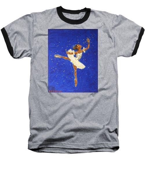 Black Ballerina Baseball T-Shirt by Stormm Bradshaw