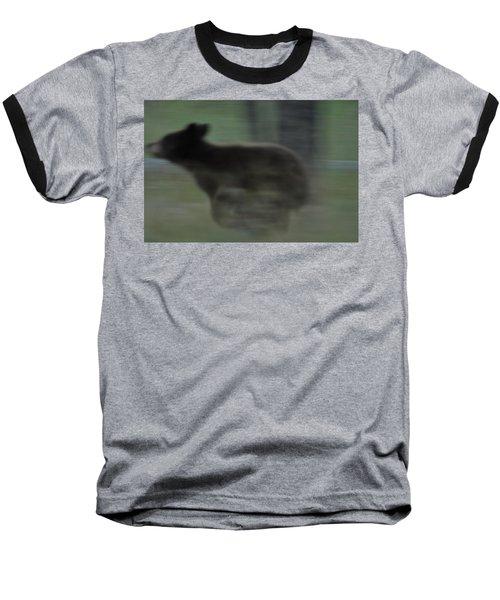 Black Bear Cub Running Baseball T-Shirt
