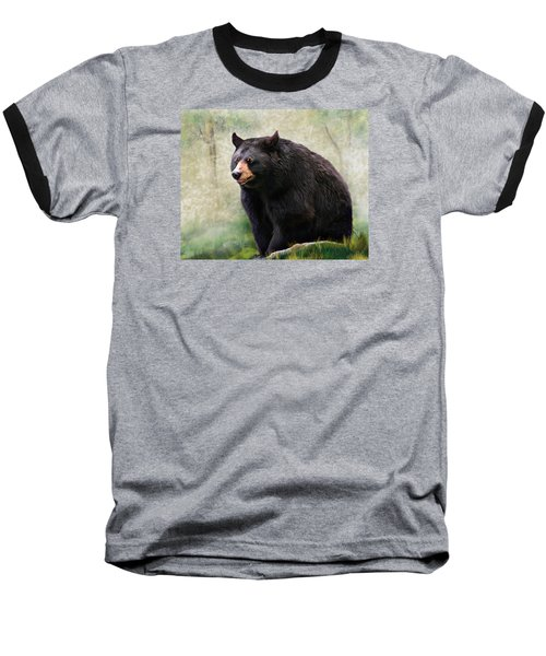 Baseball T-Shirt featuring the painting Black Bear by Mary Almond