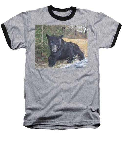 Black Bear - Wildlife Art -scruffy Baseball T-Shirt