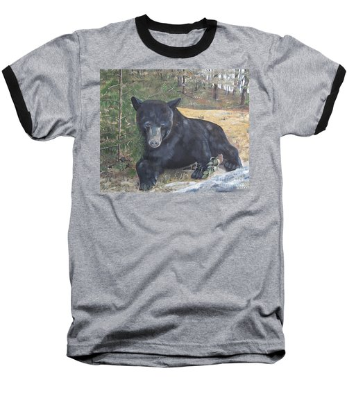 Black Bear - Wildlife Art -scruffy Baseball T-Shirt