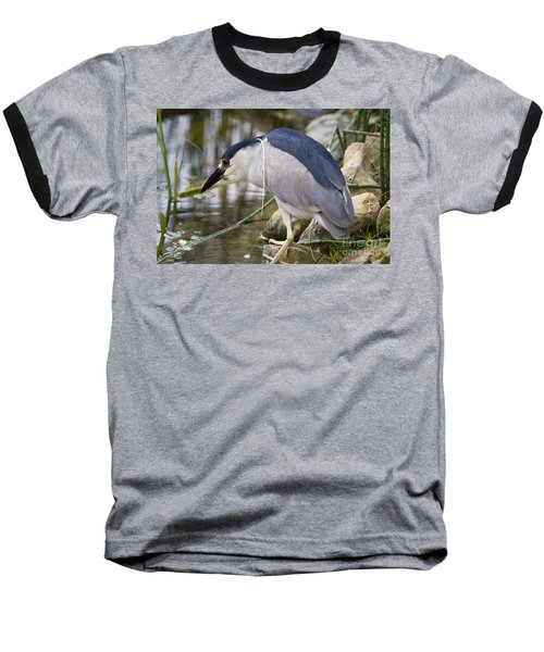 Baseball T-Shirt featuring the photograph Black-crown Heron Going Fishing by David Millenheft