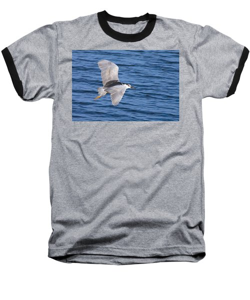 Black Crowned Night Heron In Flight Baseball T-Shirt