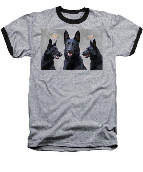 Black German Shepherd Dog Collage Baseball T-Shirt