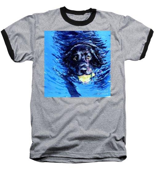 Black Lab  Blue Wake Baseball T-Shirt by Molly Poole