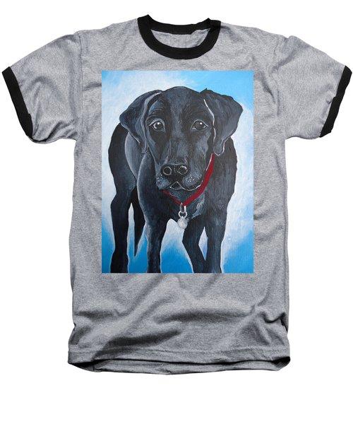 Black Lab Baseball T-Shirt by Leslie Manley
