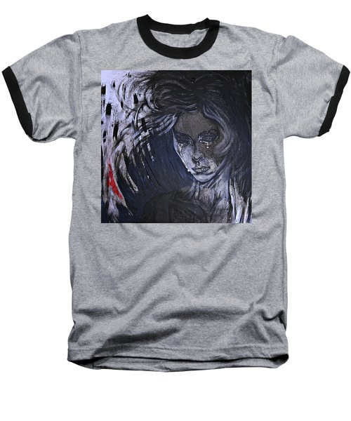 Baseball T-Shirt featuring the painting black portrait 16 Juliette by Sandro Ramani