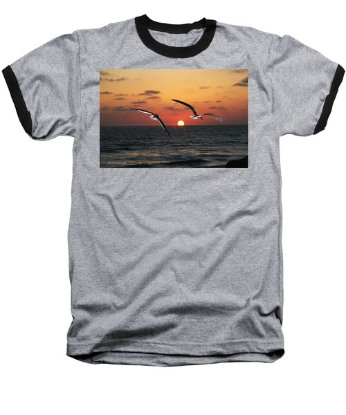 Baseball T-Shirt featuring the photograph Black Skimmers At Sunset by Tom Janca