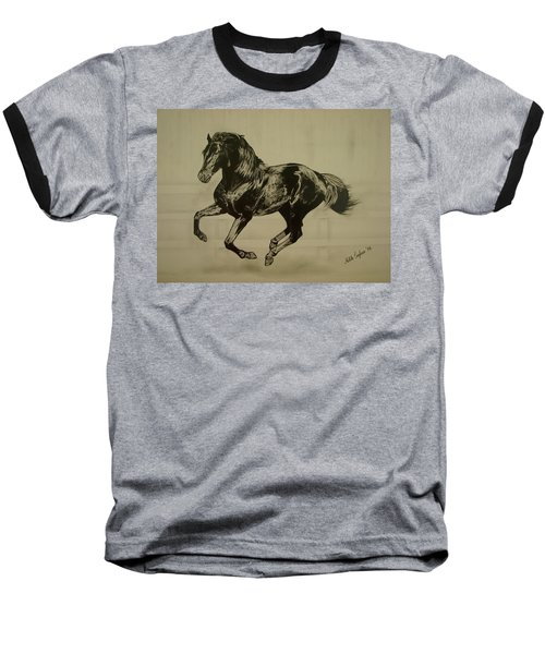 Baseball T-Shirt featuring the drawing Black Stallion by Melita Safran