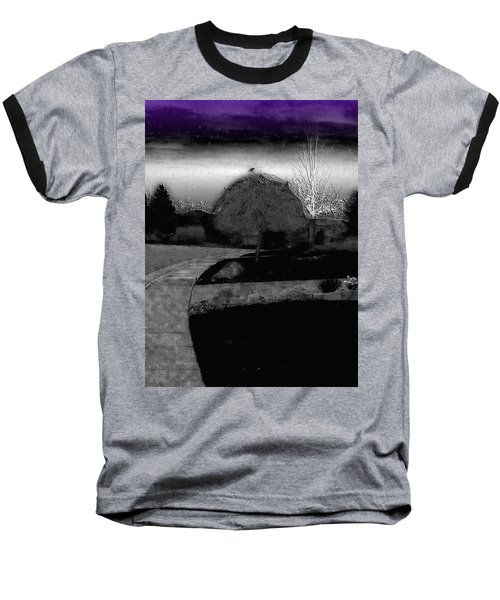 Blackbird In Tree Under Purple Night Sky Baseball T-Shirt