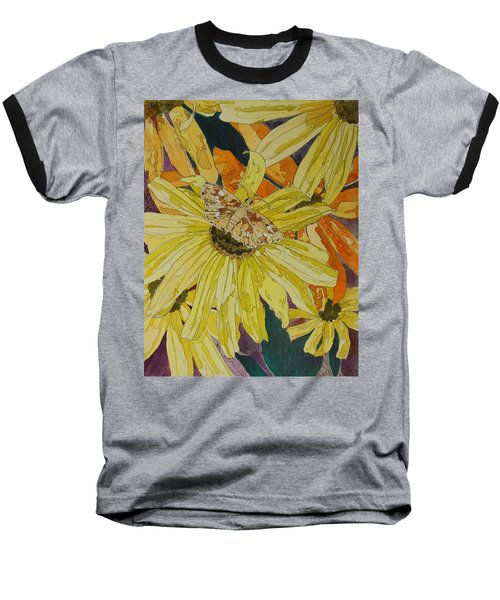 Blackeyed Susans And Butterfly Baseball T-Shirt