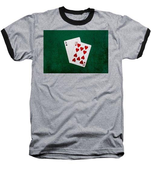 Blackjack Twenty One 1 Baseball T-Shirt by Alexander Senin
