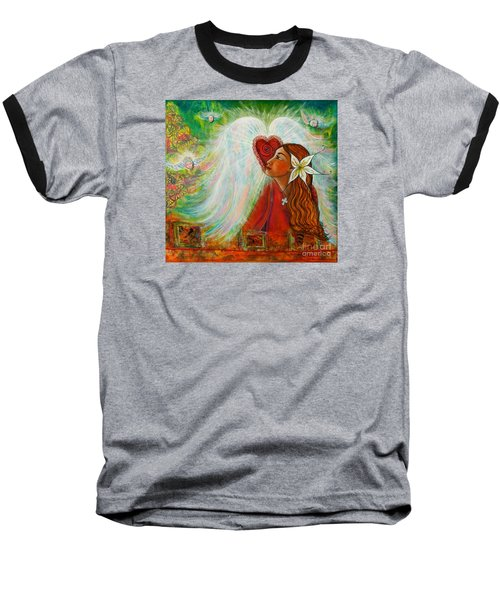 Baseball T-Shirt featuring the painting Blessed Visit  by Deborha Kerr
