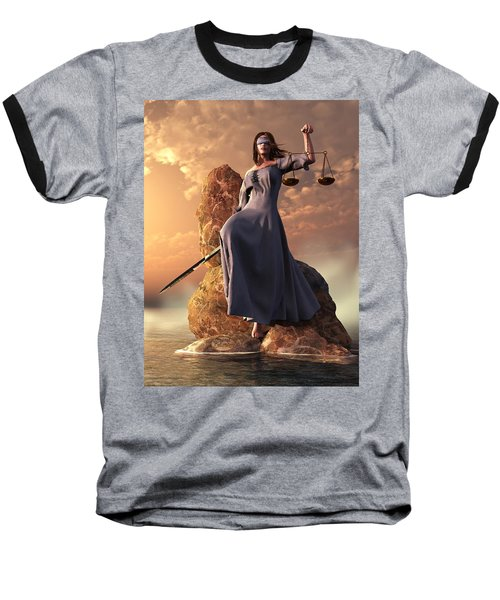 Blind Justice With Scales And Sword Baseball T-Shirt