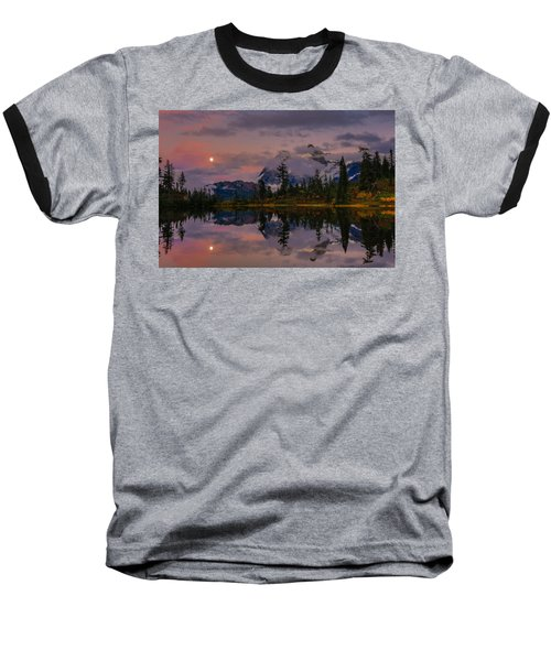 Bloodmoon Rise Over Picture Lake Baseball T-Shirt by Eti Reid