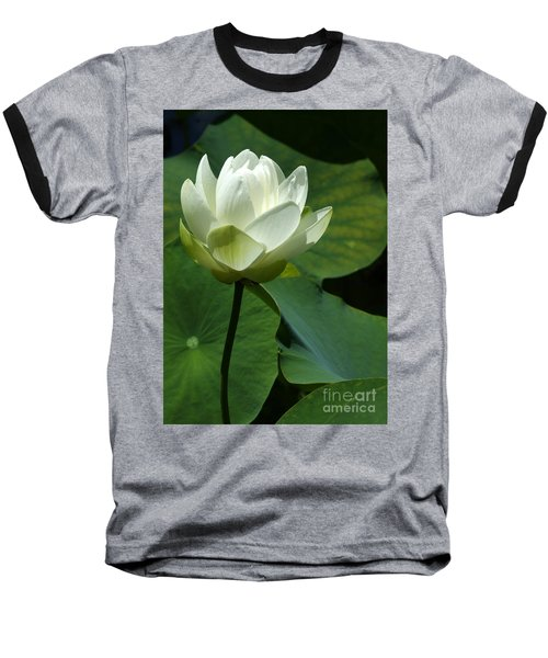 Blooming White Lotus Baseball T-Shirt