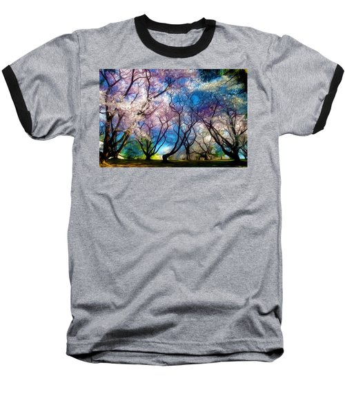 Blossom Cherry Trees Over Spring Sky Baseball T-Shirt by Lanjee Chee