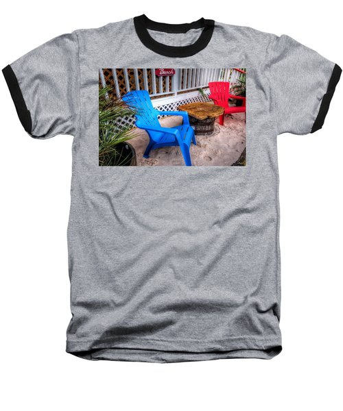 Blue And Red Chairs Baseball T-Shirt by Michael Thomas