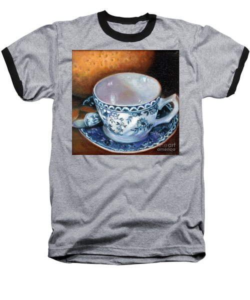 Blue And White Teacup With Spoon Baseball T-Shirt