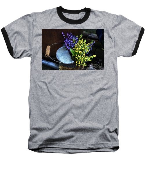 Blue And Yellow Flowers Baseball T-Shirt by Mary Machare
