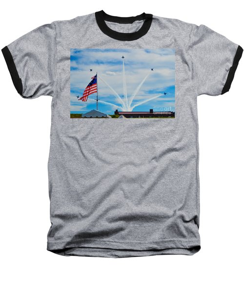 Blue Angels Bomb Burst In Air Over Fort Mchenry Finale Baseball T-Shirt