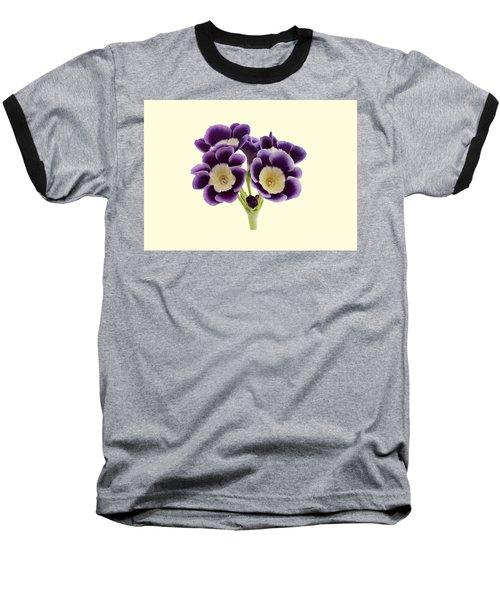 Blue Auricula On A Cream Background Baseball T-Shirt