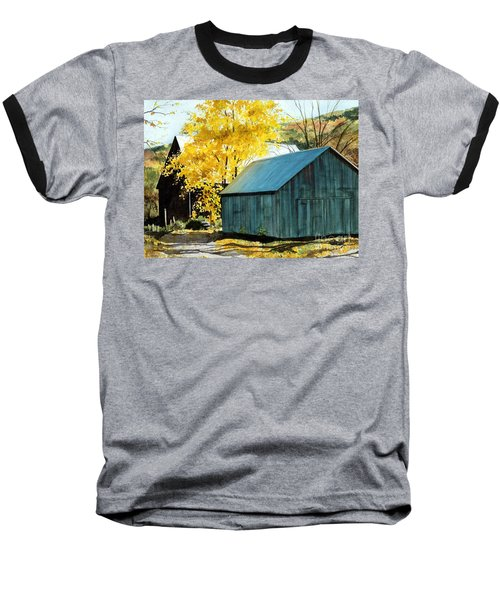 Blue Barn Baseball T-Shirt by Barbara Jewell